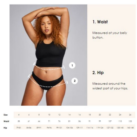 Size guide for Modibodi period underwear and swimwear.