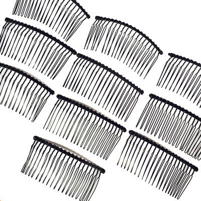 10 x Black Wire Metal Hair Comb