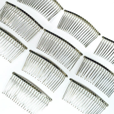 10 x Silver Wire Metal Hair Comb