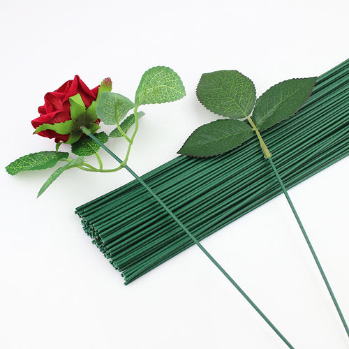 Florist Flower Plastic Wire Stems 2mm Dark Green x 10 pcs