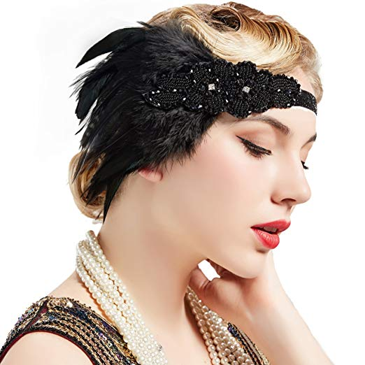 Great Gatsby 1920's Flapper Feather Headdress Fancy Dress - Black (Style 7)