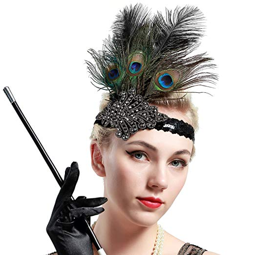 Gatsby headpiece with ostrich and peacock feathers