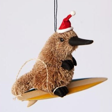 Christmas Tree Ornament Decoration Australian Native - Surfing Platypus