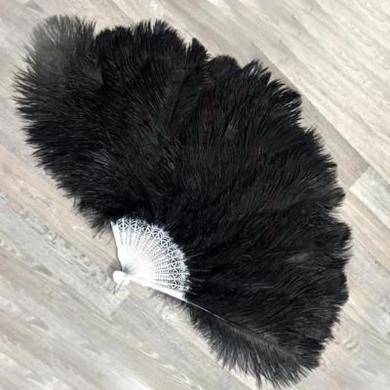 Costume Dance Ostrich Feather Fan - Classic