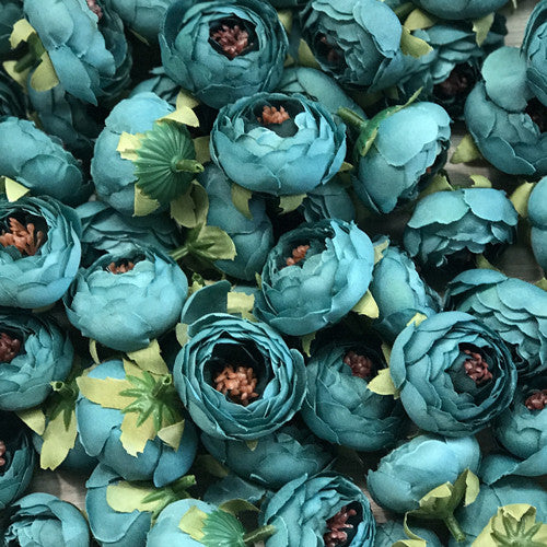 Artificial Silk Flower Heads - Dusty Teal Peony Style 27 - 5 Pack