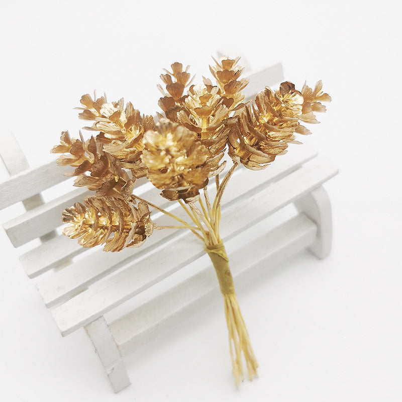 Artificial Christmas Pine Cones Wired Picks - Gold (Style 2)