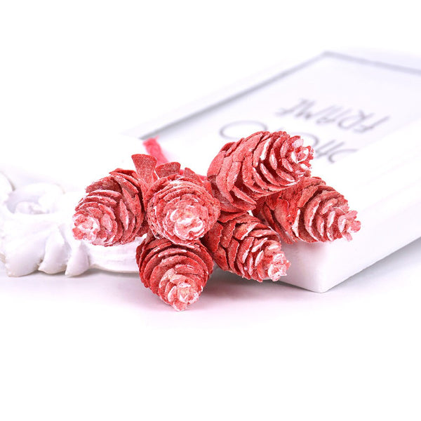 Artificial Christmas Pine Cones Wired Picks - Red Snow (Style 1)