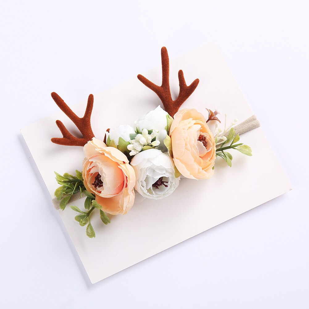 Christmas Holiday Antler Reindeer Floral Baby Girls Headband - Peach (Style 7)