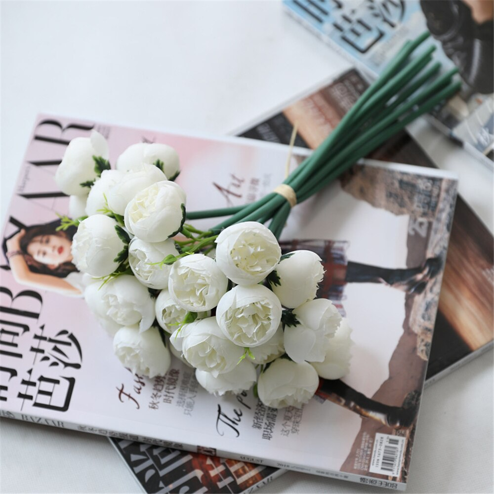 Artificial Silk Rose Tea Rose Flower Bouquet - White