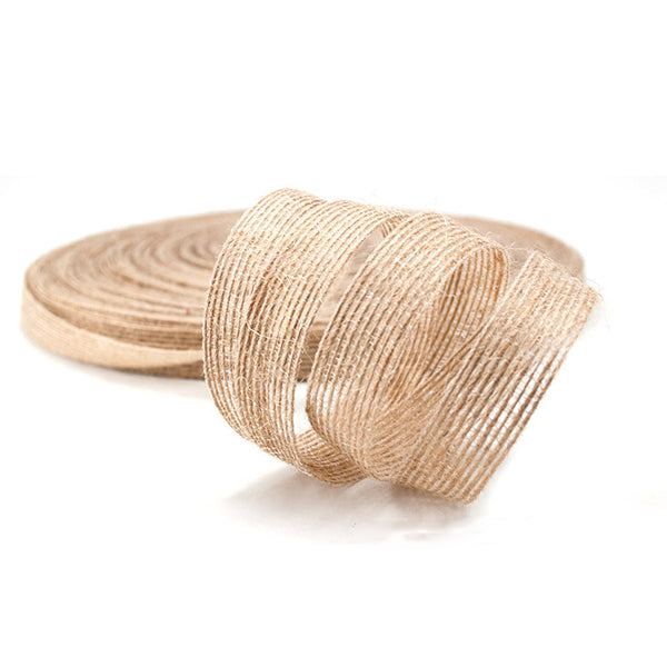 Natural Rustic Christmas Jute 15mm Ribbon per 10mtrs (Style 6)