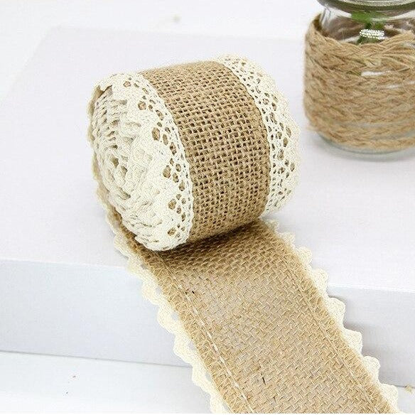 Natural Rustic Christmas Jute & Crochet Lace 60mm Ribbon per 2mtrs (Style 7)