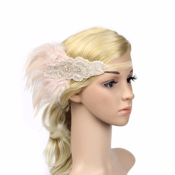 Great Gatsby 1920's Flapper Feather Headdress Fancy Dress - Pink (Style 7)