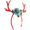 Christmas Holiday Reindeer Floral Headband - Blue (Style 2)