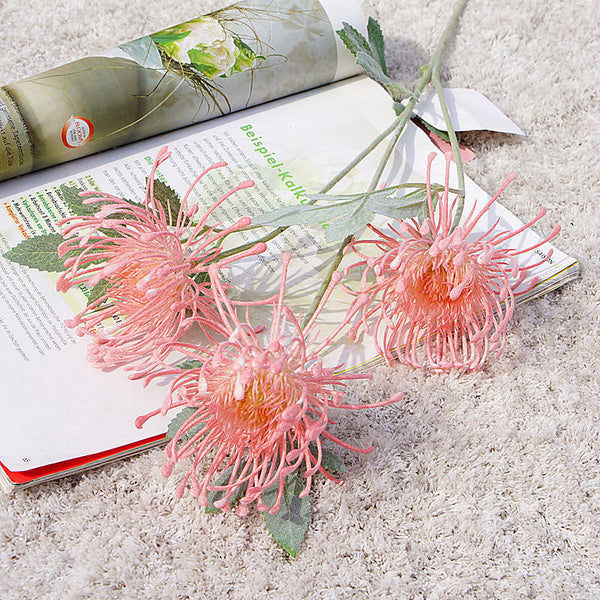 Artificial Australian Native Silk Protea Leucospermum  Flower Spray - Pink (Style 4)