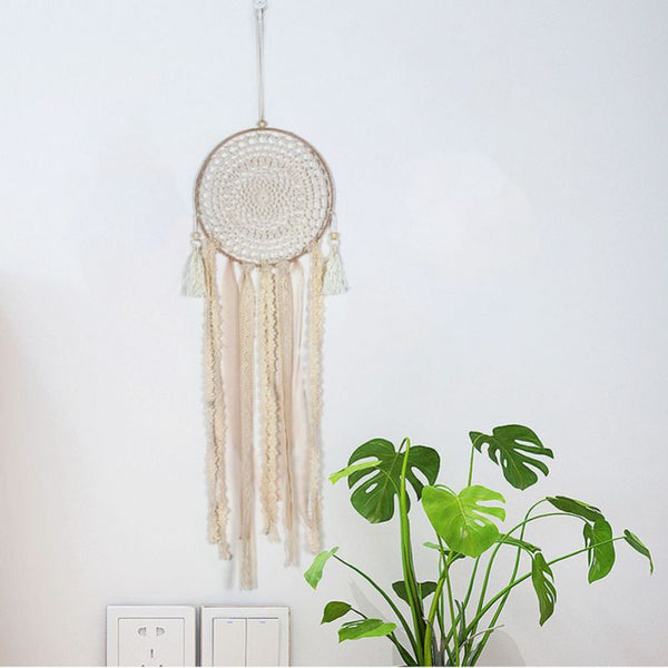 Beige Lace Dreamcatcher with Tassels - Style 2