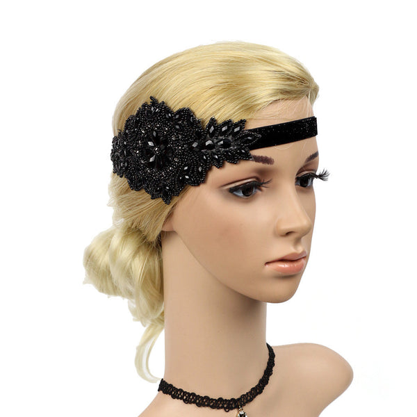 Great Gatsby 1920's Flapper Headdress Fancy Dress - Black (Style 15)