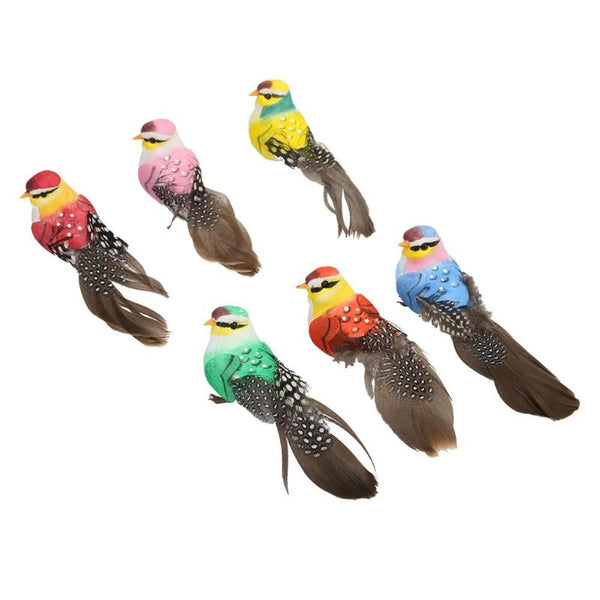 Artificial Realistic Decorative Colourful Foam Feather Birds x 6pcs (Style 3)