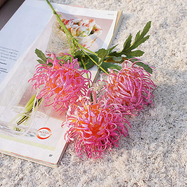 Artificial Australian Native Silk Protea Leucospermum Flower Spray - Pink (Style 6)