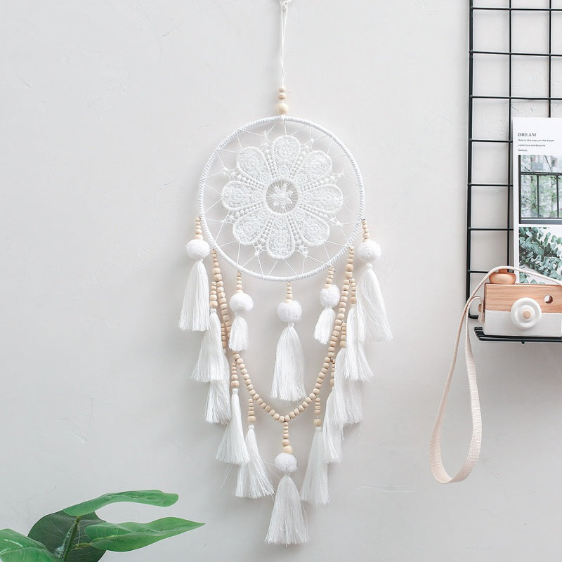 White Lace Dreamcatcher with Bead & Tassels