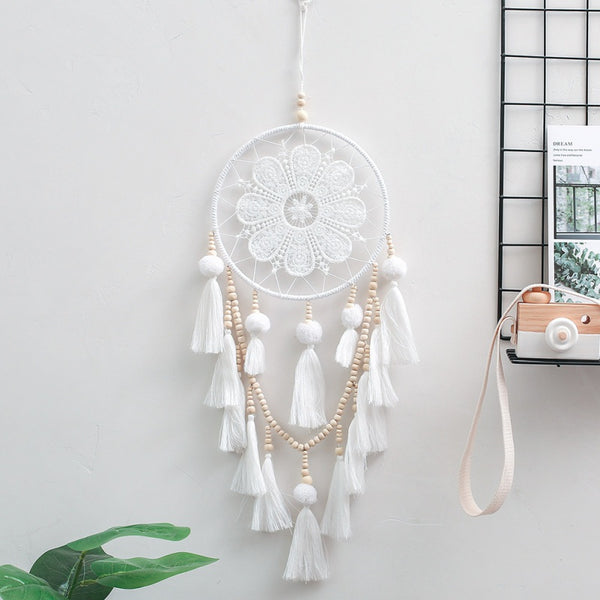 White Lace Dreamcatcher with Bead & Tassels - (Style 1)