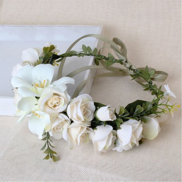 Flower Girl / Holy Communion Floral Flower Crown - Ivory (Style 2)