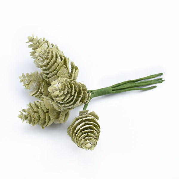 Artificial Christmas Pine Cones Wired Picks - Green Snow (Style 1)