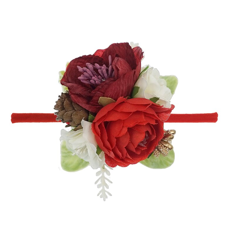 Christmas Holiday Floral Baby Girls Headband - Red (Style 5)