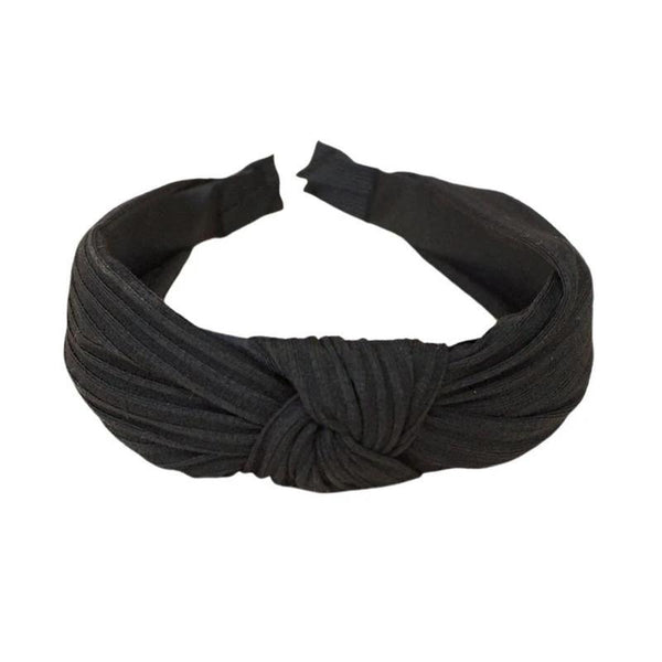 Fabric Wide Knot Turban Ladies Women Headband - Style 15 Black