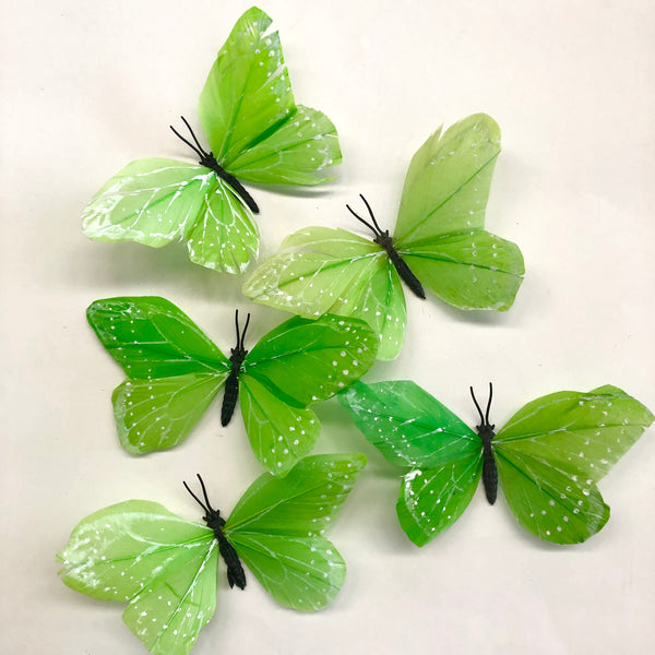 Feather Butterflies Style 2 x 5 Pack - Lime Green