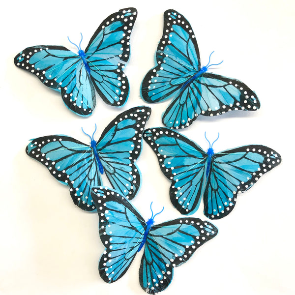 Feather Butterflies Style 5 x 5 Pack - Blue