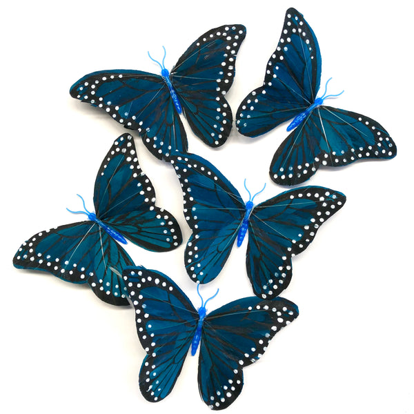 Feather Butterflies Style 5 x 5 Pack - Turquoise