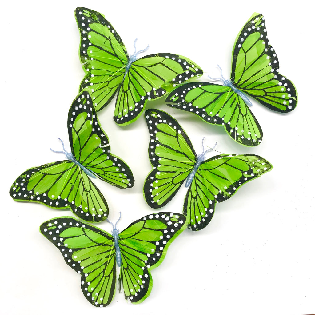 Feather Butterflies Style 5 x 5 Pack - Lime Green