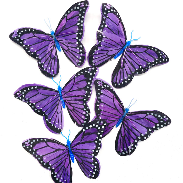 Feather Butterflies Style 5 x 5 Pack - Purple