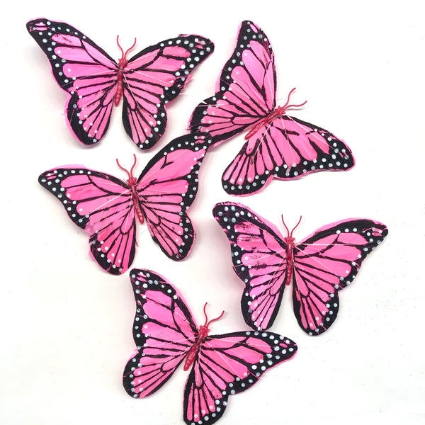 Feather Butterflies Style 5 x 5 Pack - Hot Pink