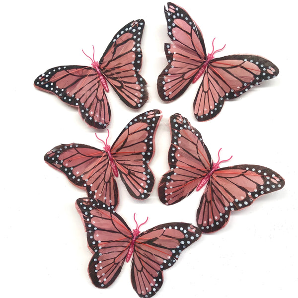 Feather Butterflies Style 5 x 5 Pack - Dusty Pink