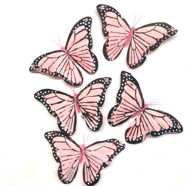 Feather Butterflies Style 5 x 5 Pack - Pink