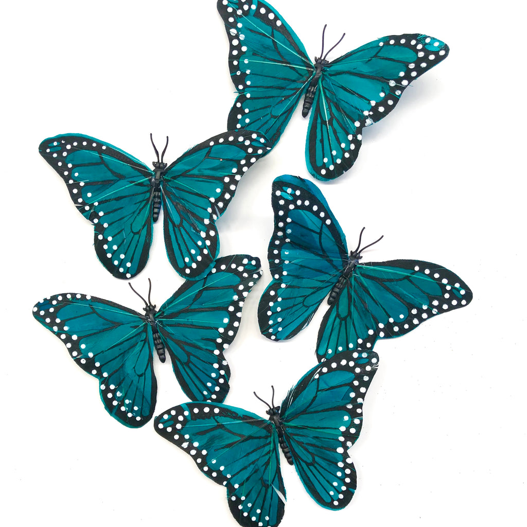 Feather Butterflies Style 5 x 5 Pack - Teal
