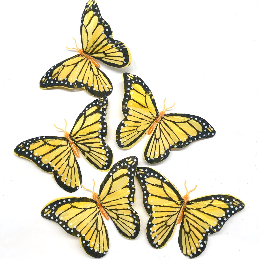 Feather Butterflies Style 5 x 5 Pack - Yellow