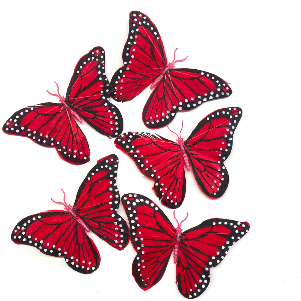 Feather Butterflies Style 5 x 5 Pack - Red