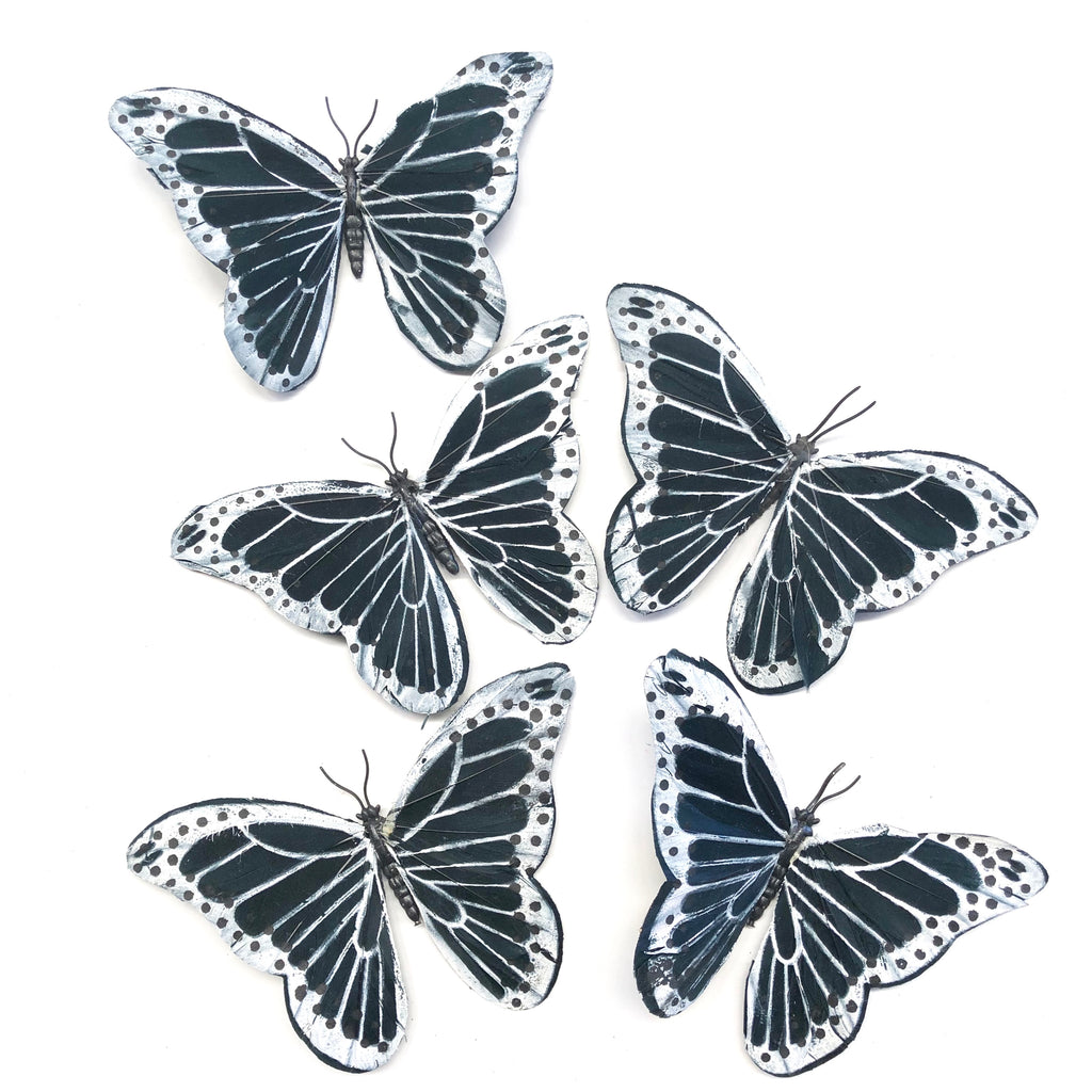 Feather Butterflies Style 5 x 5 Pack - Black