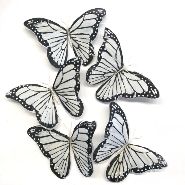 Feather Butterflies Style 5 x 5 Pack - Grey