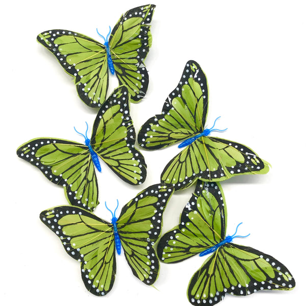 Feather Butterflies Style 5 x 5 Pack - Olive Green