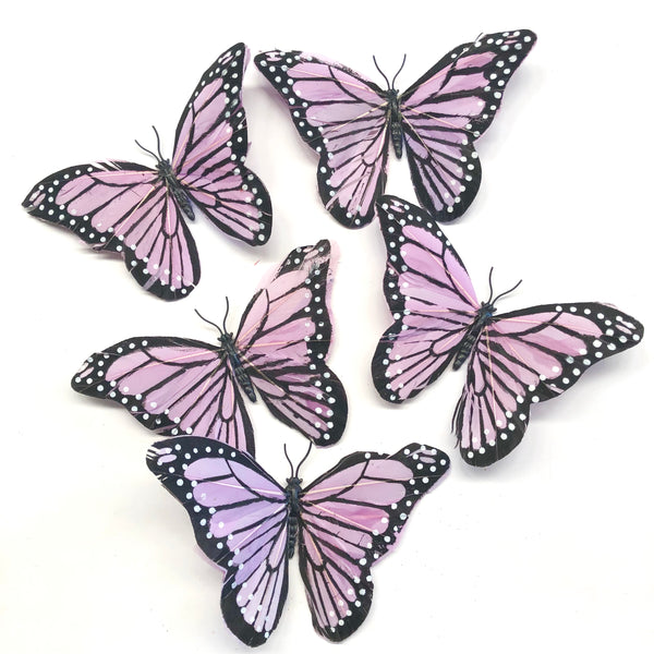 Feather Butterflies Style 5 x 5 Pack - Lilac