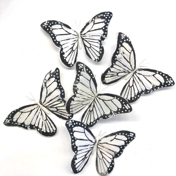 Feather Butterflies Style 5 x 5 Pack - White