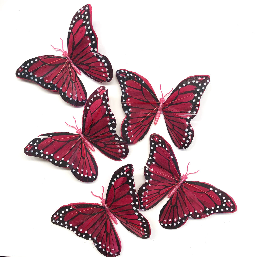 Feather Butterflies Style 5 x 5 Pack - Blood Red