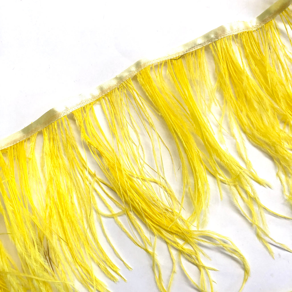 Ostrich Feathers Strung per 10cm - Yellow