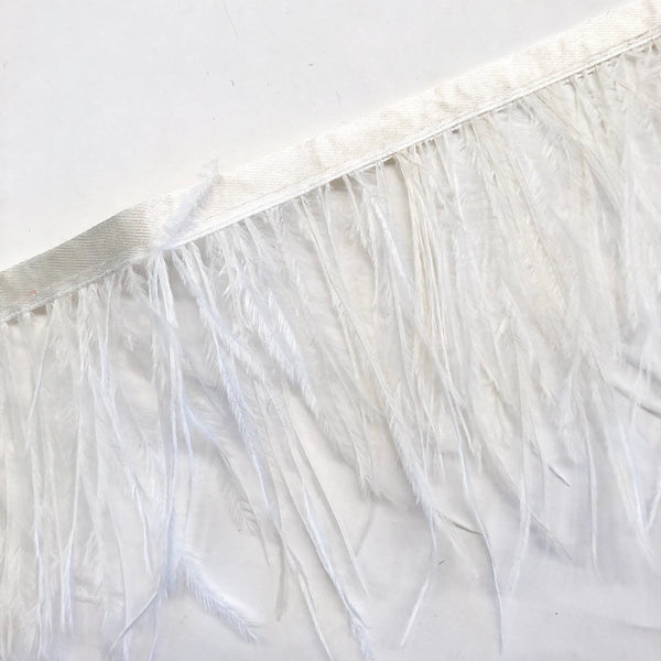 Ostrich Feathers Strung per 10cm - Bridal Ivory