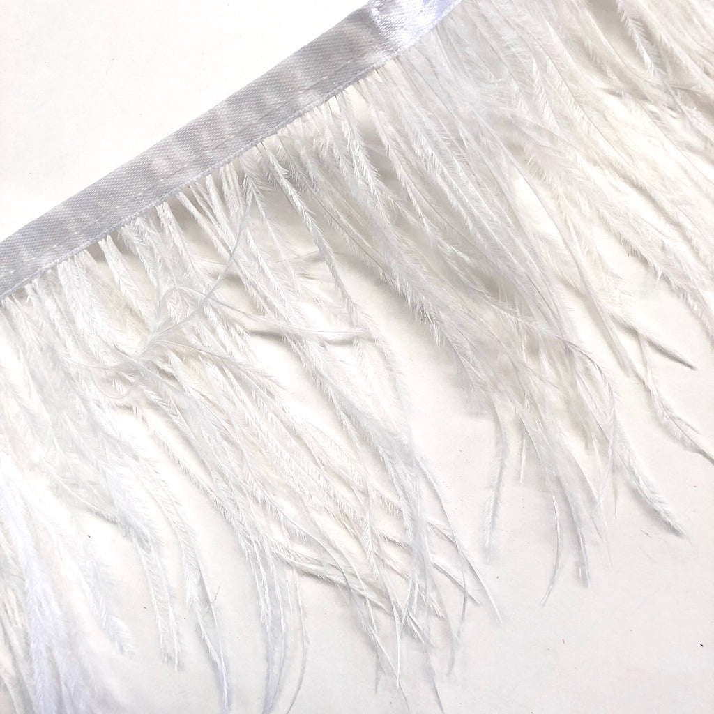 Ostrich Feathers Strung per metre - White