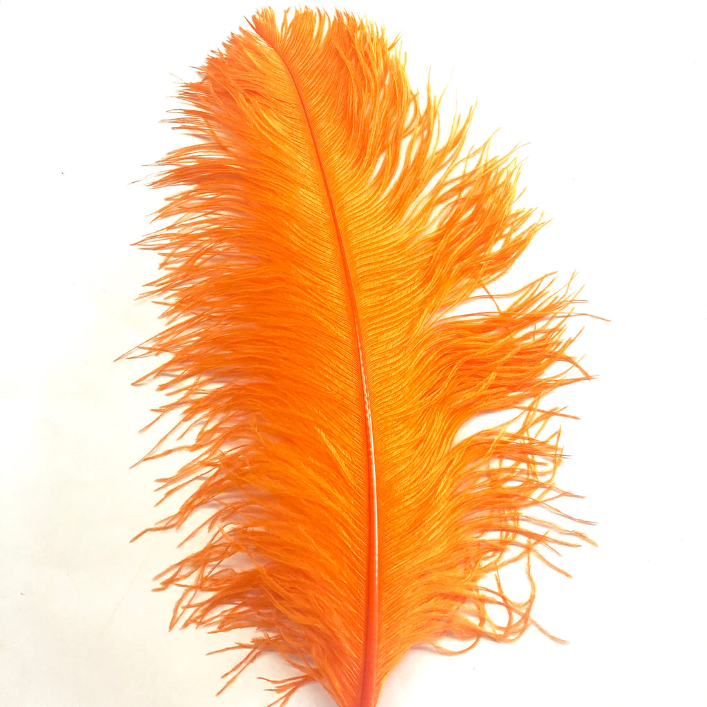 "Ostrich Wing Feather Plumes 60-65cm (24-26"") - Orange ((SECONDS))"