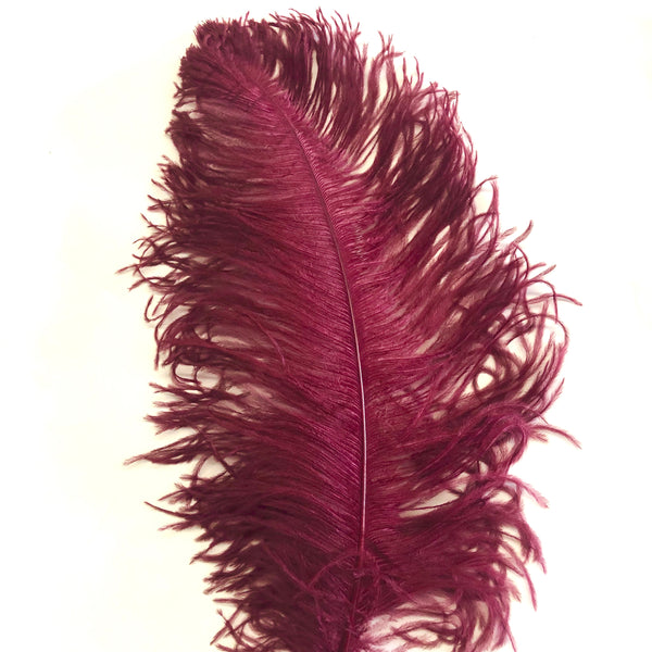 "Ostrich Wing Feather Plumes 50-55cm (20-22"") - Burgundy ((SECONDS))"